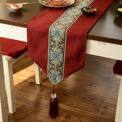 ZIHOPE 中式禪意桌旗現代簡約歐式美式餐桌布鞋櫃電視櫃蓋巾床旗床尾巾餐墊ZI812
