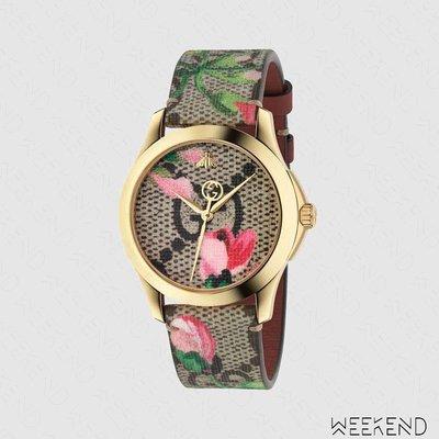 【WEEKEND】 GUCCI G-Timeless GG Blooms 皮革 手錶 483593
