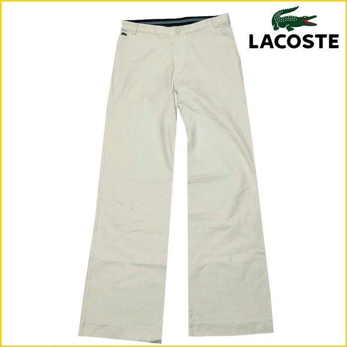 日本二手衣✈️LACOSTE/女 L号/白色長褲/直筒褲/純棉褲/法國品牌/LACOSTE/鱷魚牌/女長褲/M6398R
