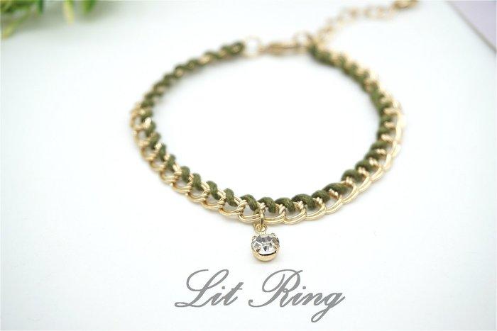 綠繩編織水鑽吊飾金色手鍊~金色 簡約 金屬 鍊條 鎖鍊 圓形 小水鑽 細繩 麻花 手環 飾
