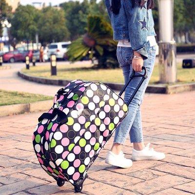 @自然小鋪 行李包收納包手提包便攜ins滾輪手提潮背包旅游箱包帶拉桿的黑色