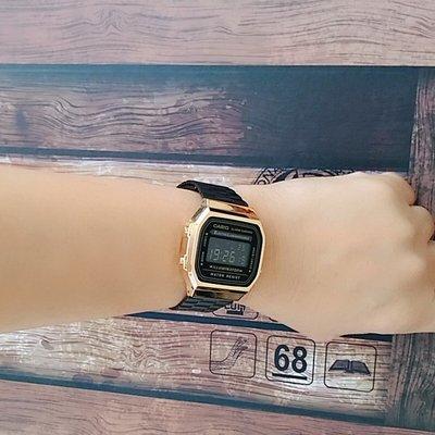 CASIO復古黑金錶 卡西歐手錶 冷光 復古電子錶 中性款男女可日系廣告款【保證正品↘超低價】A168WEGB