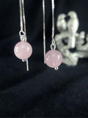 🌸銀925粉紅水晶長版耳環 現貨在台北