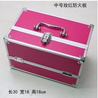 【優上】手提大號化妝箱專業化妝師紋繡工具箱彩妝箱中號玫紅30cm