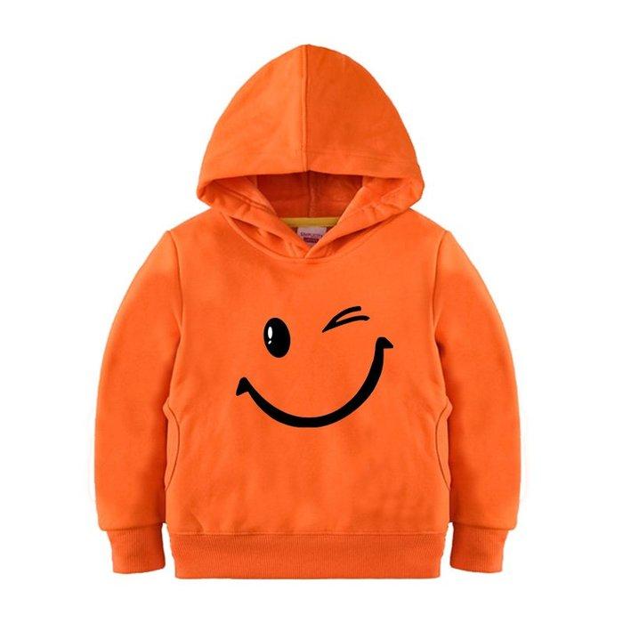 【童裝】韓版男童加絨百搭衛衣寶寶冬款套頭衫女學生兒童冬裝小孩笑臉上衣服潮表演
