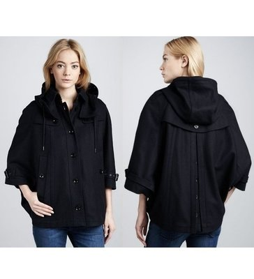 Burberry女 深藍色 海軍藍 羊毛 斗篷式 寬鬆版 短大衣 外套 US 4 / UK 6 (袖長43衣長61)