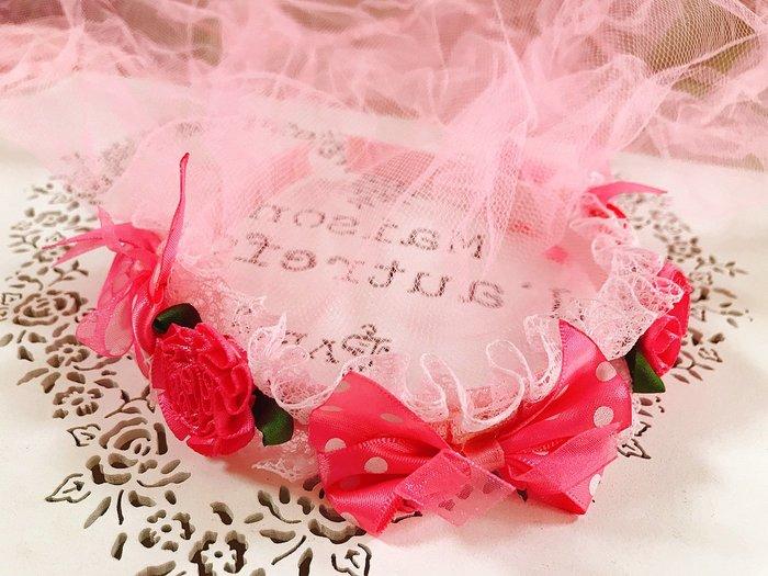 【華蕊】* G款桃粉蝴蝶結小花髮箍頭紗 * 髮圈 小花童 公主頭紗 甜美 可愛 蕾絲 花環