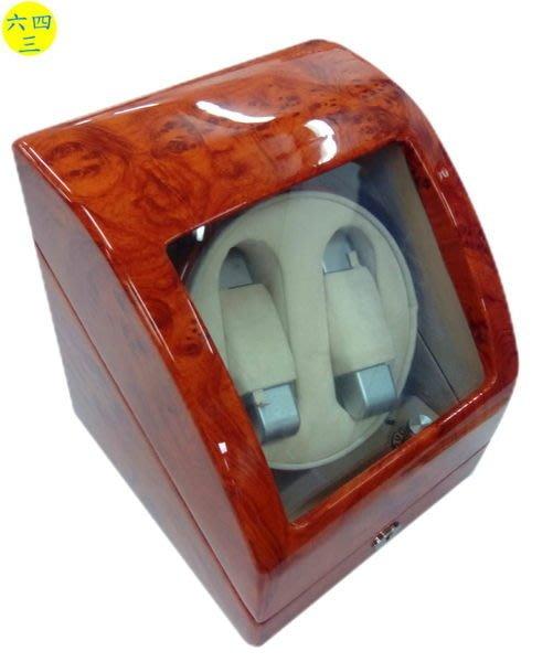 (六四三精品)鋼琴烤漆高級木製可放2只手錶之自動上鍊儲存盒(動力儲存盒)2+0,弧度..