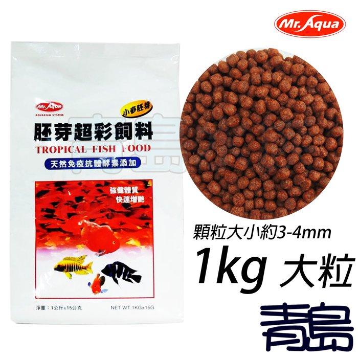 Q。。。青島水族。。。UA-59台灣Mr.Aqua水族先生-胚芽超彩飼料 天然免疫抗體酵素添加==1KG(袋裝)/大粒