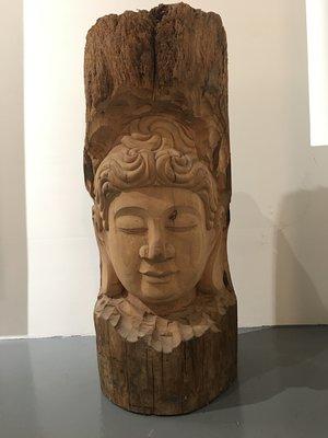 【一(藝)窩】木雕佛像~老樑柱新雕工~榆木~