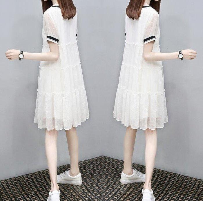女裝 娃娃裙子寬松V領休閑大碼顯瘦a字雪紡連身裙  洋裝—莎芭
