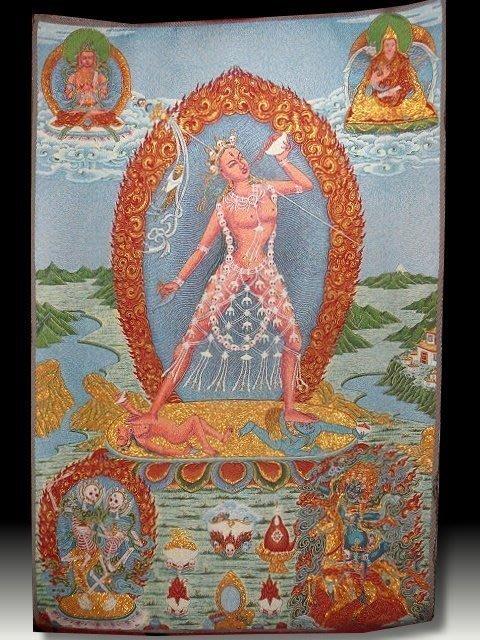 【 金王記拍寶網 】S821 中國西藏藏密佛像刺繡唐卡 刺繡 (大)一張 完美罕見~