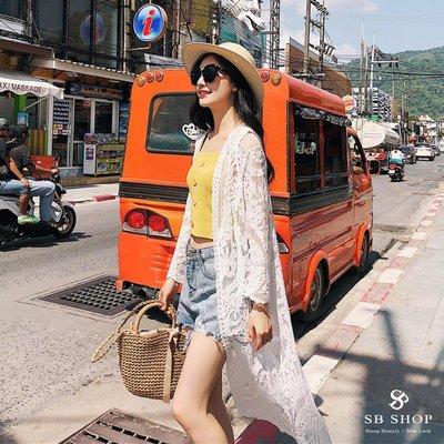 SB SHOP【勾花蕾絲長版罩衫外套 ts84 】女裝 罩衫 夏日 上衣 海灘裙 防曬 外套 顯瘦 透膚 美背