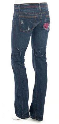 美國 New 575 Denim Bootcut Jeans 彩色車線貼布口袋刷洗牛仔褲 Sz 25 現貨