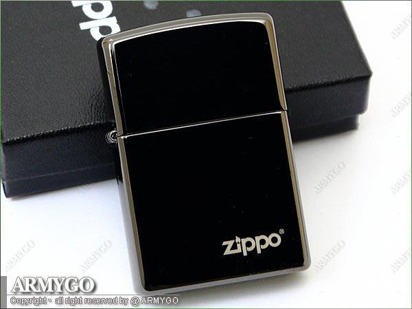 【ARMYGO】ZIPPO原廠打火機-No.24756ZL (黑酷炫冰) 特殊微薄防刮塗層鏡亮面