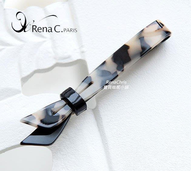 BHI1800-法國品牌RenaChris 可愛琥珀蝴蝶結一字髮夾 瀏海夾 鴨嘴夾【韓國製】AngelRena
