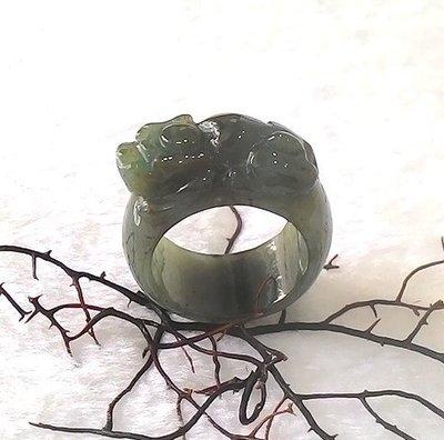□§Disk的天然水晶§□【招財進寶】老坑滿綠翡翠貔貅招財獸戒指(31x28x12mm內徑20.4 14g)JM07