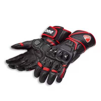 驢友之家高品質 新款杜卡迪摩托車長款騎行手套DUCATI碳纖維真皮機車防摔騎士手套