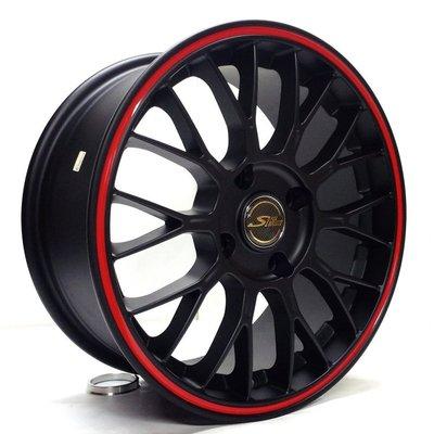 全新鋁圈 wheel S16 16吋鋁圈 4孔114.3 平光黑滾紅邊
