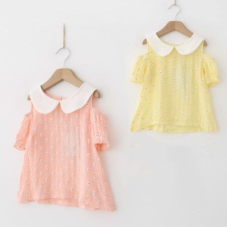 韓版《削肩小花朵》甜美短袖上衣 (J5-2)