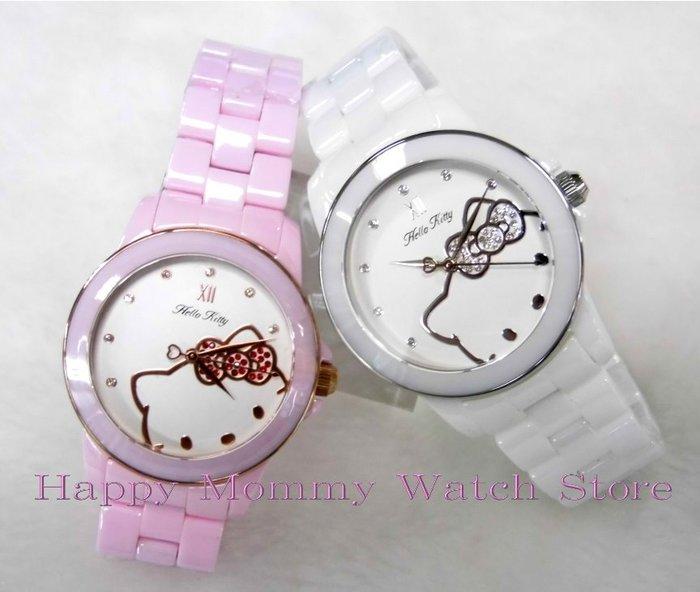 【 幸福媽咪 】網路購物、門市服務 HELLO KITTY 公司貨 時尚陶瓷腕錶-白/粉 36mm LK673