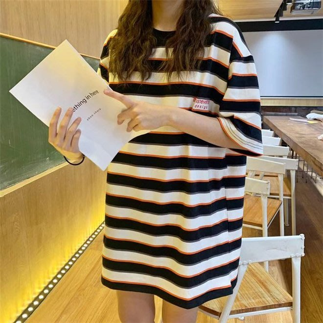 FINDSENSE G6 韓國時尚潮流 2019夏季新夏裝寬鬆撞色橫條紋短袖圓領T恤女裝上衣打底