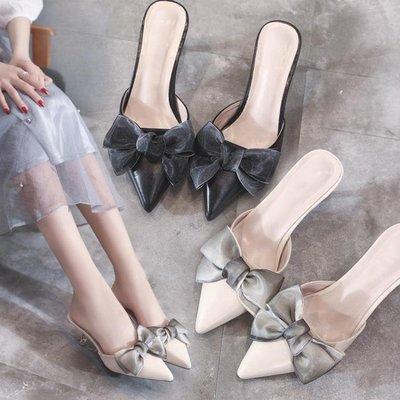 包頭拖鞋女夏時尚外穿2018新款厚底尖頭細跟涼拖高跟鞋穆勒鞋涼拖