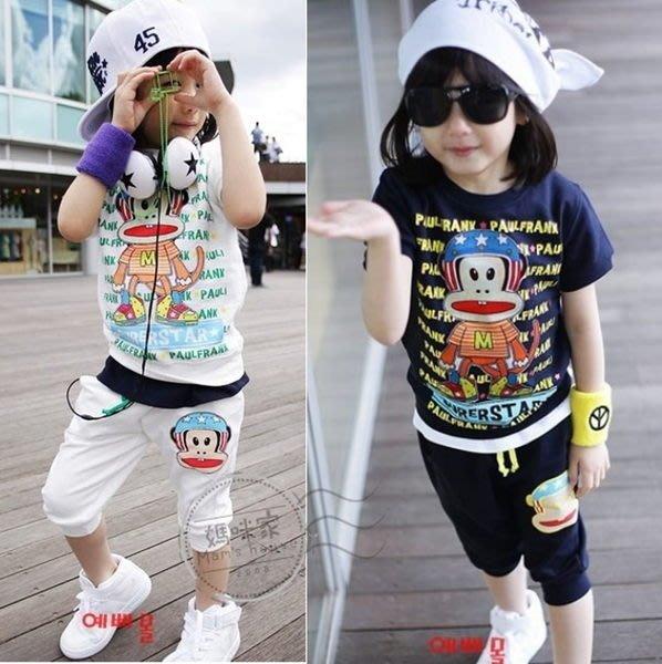 媽咪家【AB068】AB68猴子套裝 安全帽 猴子 短袖 T恤 上衣 7分褲 短褲 套裝 2件組~90.120/A白