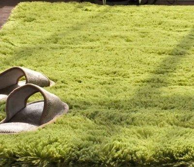 【大粒光】日本同步流行 3公分高200*200公分抹茶綠 細絲長毛地毯/地墊 _觸感像絨毛娃娃 /可訂做定製尺寸