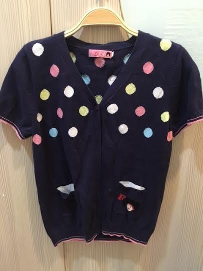 小花別針、專櫃【FFFF】經典娃娃圓點點可愛針織短袖外套上衣