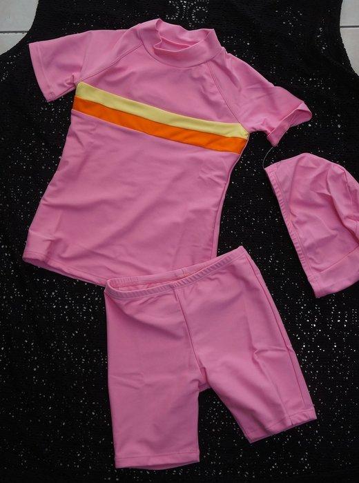 奧可那女童泳裝AQ14309-粉紅短袖款-防曬俏麗二件式[上衣/七分褲]-萊卡M-EL-特價780元(台灣製)