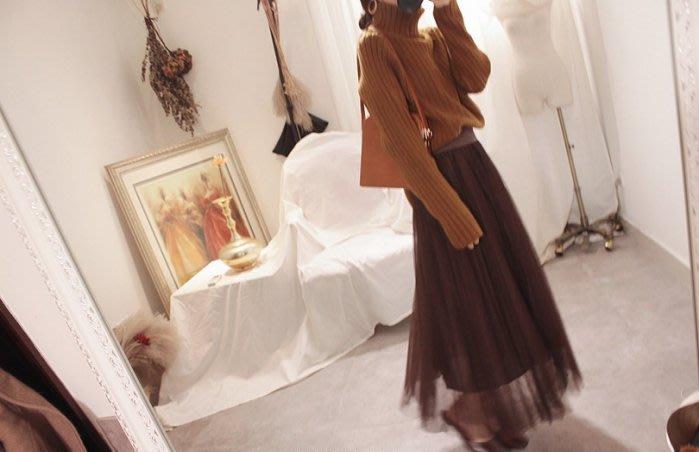 春秋韓版高腰網紗半身裙 中長裙襬搭 百褶裙長裙 復古棕色襯裙
