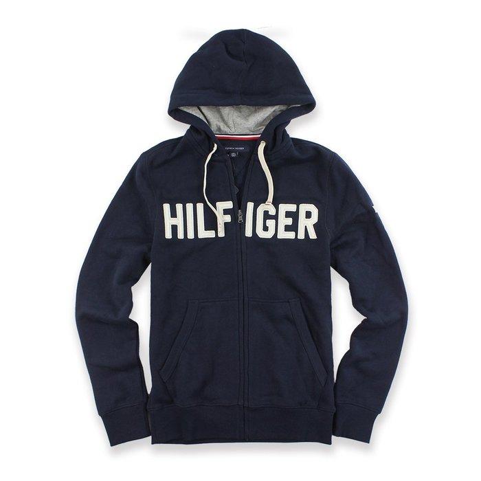 美國百分百【全新真品】Tommy Hilfiger 經典款 TH 棉質 連帽 外套 夾克 深藍 男款 S號 I677