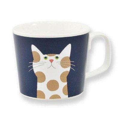 Cuppa?貓咪系列 花貓 1號花卉馬克杯 海軍藍 送禮好物