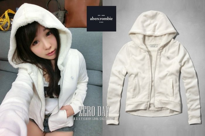 a&f abercrombie&fitch kids girl sherpa-lined hoodie熊寶寶毛連帽外套白