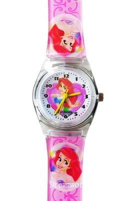 【卡漫迷】 小美人魚 M 膠錶 粉 ㊣版 台灣製 Ariel 愛麗兒 Mermaid 迪士尼 手錶 兒童錶 卡通錶 女錶