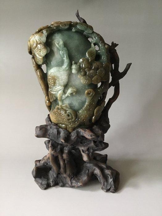 *藏雅軒*早期收藏老件-緬甸玉雕刻-立體意境滿雕-松鶴長青-根雕擺件
