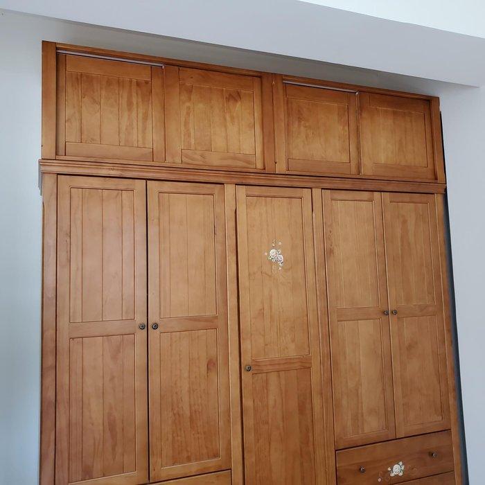美生活館 鄉村傢俱訂製 客製化 全紐松 銅柚色 推門 棉被櫃 衣櫃 收納櫃 系統櫃 置物櫃 也可修改尺寸顏色再報價