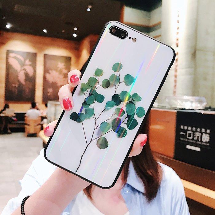 爆款熱賣-ins風一顆樹iPhoneXR手機殼XSmax極光玻璃殼蘋果6S/7/8plus防摔套