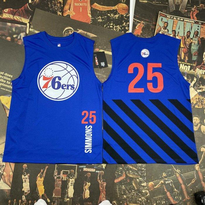 NBA背心職籃球星班·西蒙斯(Ben Simmons)25號 費城76人隊   籃球運動背心  正版