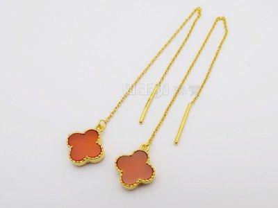 如玉坊珠寶  進口紅瑪瑙幸運草長針耳環  黃金耳環  AP&