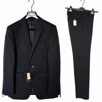 全新日本COMME CA MEN頂級羊毛黑色條紋雙扣成套西裝外套西裝褲44窄版S號ISM DIOR HOMME