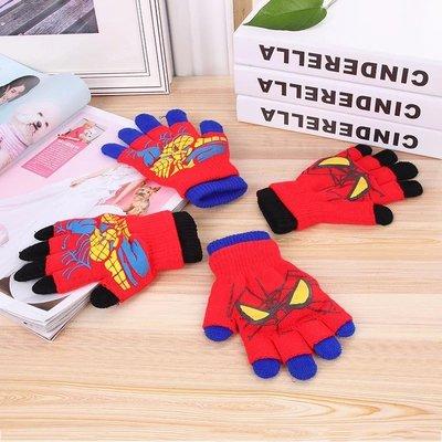 冬季新款 英雄系列 蜘蛛人兒童手套 加厚保暖分指針織手套