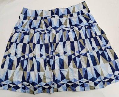 九成新nice ioi品牌服飾*亮麗寶石藍幾何圖案短裙L尺寸*XL亦適穿☆╮代友出清