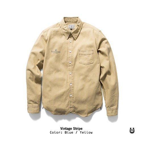 (I LOVE 樂多) Retrodandy Vintage Stripe 直條紋工作襯衫 (米黃色)