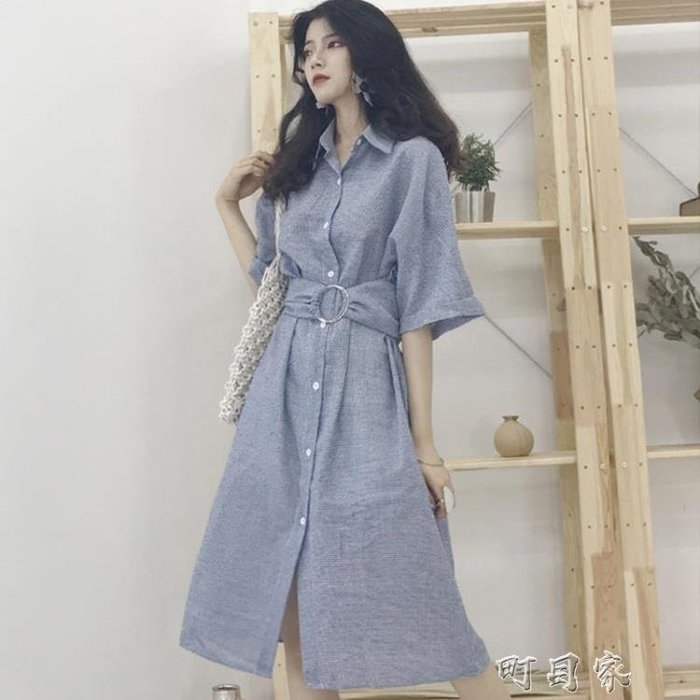 女裝簡約中長款格子洋裝收腰復古顯瘦單排扣半袖襯衫裙