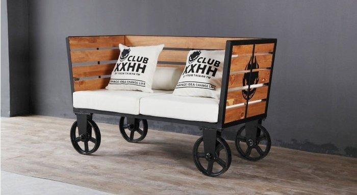 【南洋風休閒傢俱】造型沙發系列-美式復古雙人沙發 鐵藝休閒沙發  實木雙人沙發卡座
