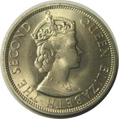 原光 1961 年 伊麗莎白 二世 英屬 馬來亞 Malaysia 馬來西亞 婆羅洲 50分 cents 大型 古 錢幣