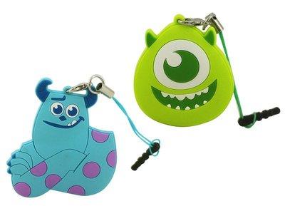 【卡漫迷】 怪獸大學 防塵塞 + 捲線器 兩款可選 夾式 集線器 ㊣版 毛怪 大眼怪 Sulley Mike 隨身 耳機