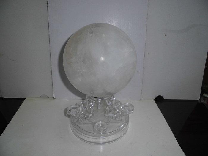 138mm天然白水晶球(帶黑髮絲)